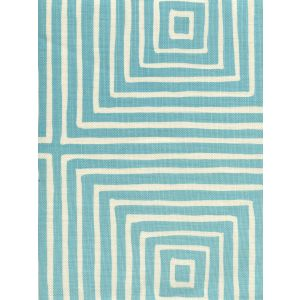 8055-01 ZIGGURAT REVERSE LARGE SCALE Turquoise on Tint Quadrille Fabric