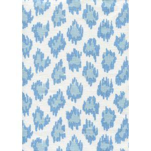 7325-00W ZIZI LEOPARD Sky Blues on White Quadrille Fabric