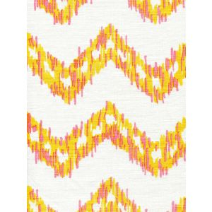 7330-03W ZIZI ZIG ZAG Pinks Yellow on White Quadrille Fabric
