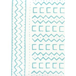 AP980-03 BEAU RIVAGE Turquoise On White Quadrille Wallpaper