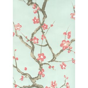 306500W-05WP CHERRY BRANCH Pale Celadon Pink Taupe Brown Quadrille Wallpaper