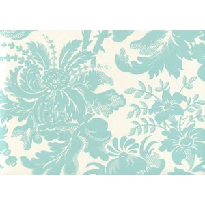 306085W DES GARDES Turquoise On Off White Quadrille Wallpaper