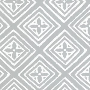 2490-22WPV FIORENTINA Windsor Blue On White Patent Vinyl Quadrille Wallpaper