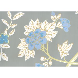306065W HAPPY GARDEN Grey On White Quadrille Wallpaper