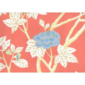 306063W HAPPY GARDEN Rust Orange On White Quadrille Wallpaper