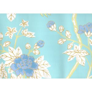 306062W HAPPY GARDEN Turquoise On White Quadrille Wallpaper