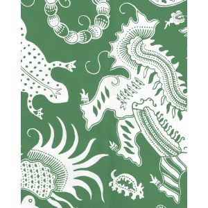 653-220 INDRAMAYU REVERSE Grassy Green On White Matte Vinyl Quadrille Wallpaper
