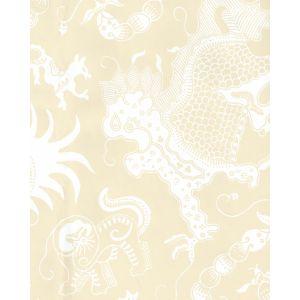 653-17 INDRAMAYU REVERSE Tan On White Matte Vinyl Quadrille Wallpaper