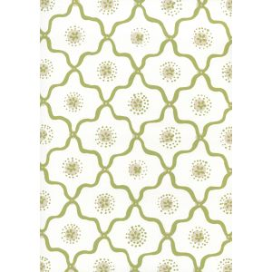 306320W-07WWP LONGFELLOW Moss Green Taupe On White Quadrille Wallpaper
