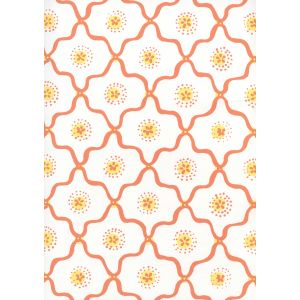 306320W-02WWP LONGFELLOW Orange Yellow On White Quadrille Wallpaper