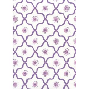 306320W-05WWP LONGFELLOW Purple Lilac On White Quadrille Wallpaper