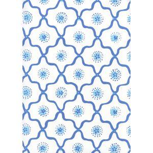 306320W-06WWP LONGFELLOW Royal New Blue On White Quadrille Wallpaper