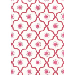 306320W-03WWP LONGFELLOW Strawberry On White Quadrille Wallpaper