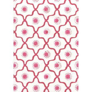 306320W-03WWP LONGFELLOW Strawberry On White Quadrille Wallpaper