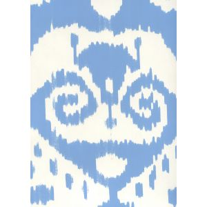 306048W MALAYA New Blue On Almost White Quadrille Wallpaper