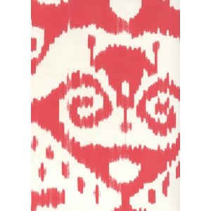 306050W MALAYA Red On Almost White Quadrille Wallpaper