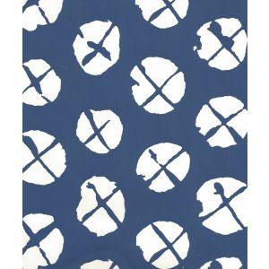 6655WP-09 OBI II REVERSE Navy On Almost White Quadrille Wallpaper