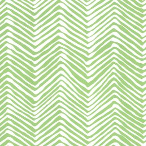 AP303-3 PETITE ZIG ZAG Green On White Vinyl Quadrille Wallpaper
