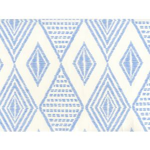 AP850-05 SAFARI EMBROIDERY French Blue On Almost White Quadrille Wallpaper