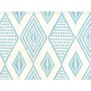 AP850-03 SAFARI EMBROIDERY Medium Turquoise On Almost White Quadrille Wallpaper