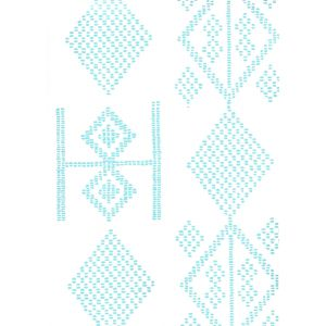 AP890-03AWP VACANCES Turquoise On Almost White Quadrille Wallpaper