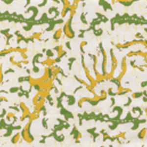 6640CU-02 HULAI BATIK Green Yellow on White Quadrille Fabric