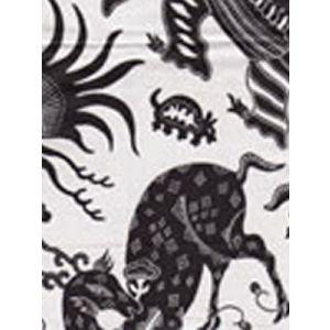 103-211 INDRAMAYU Black on White Chintz Quadrille Fabric