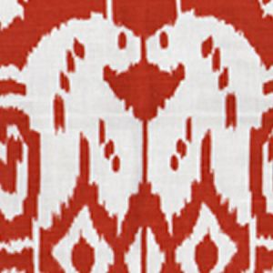 6460-29 ISLAND IKAT Dark Red on White Quadrille Fabric