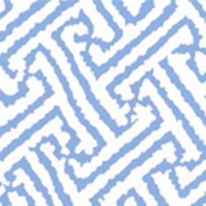 6620-20AWP JAVA GRANDE French Blue On White Quadrille Wallpaper