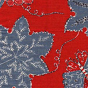 146-40 LES OISEAUX ENCHANTES Lacquer Red Blue Bisque Quadrille Fabric