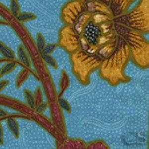 6060-07 LIM BAMBOO II Turquoise Multi Quadrille Fabric