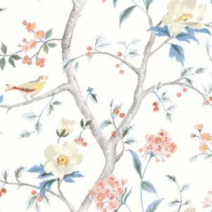 LN11901F Southport Floral Trail Eggshell, Melon, and Carolina Blue Seabrook Wallpaper