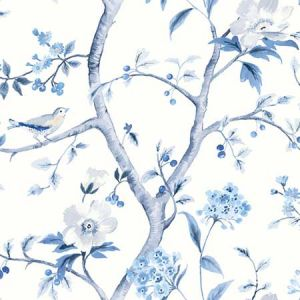 LN11902F Southport Floral Trail Eggshell and Blue Shale Seabrook Wallpaper