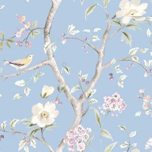 LN11912F Southport Floral Trail Sky Blue and Arrowroot Seabrook Wallpaper