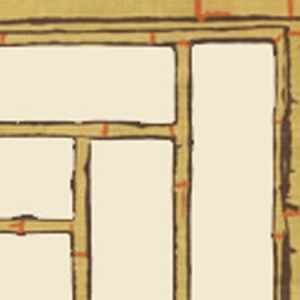 6020W-07 LYFORD TRELLIS Mustard Cream Brown Orange Quadrille Wallpaper