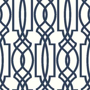 NW31502 Navy Deco Lattice Seabrook Wallpaper