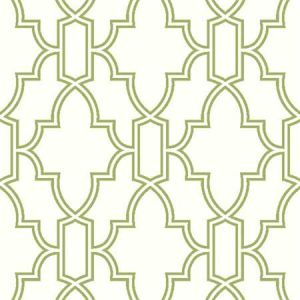 NW31604 Green and White Tile Trellis Seabrook Wallpaper