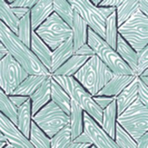6280-03WP PARQUETRY Blue Turquoise On White Quadrille Wallpaper