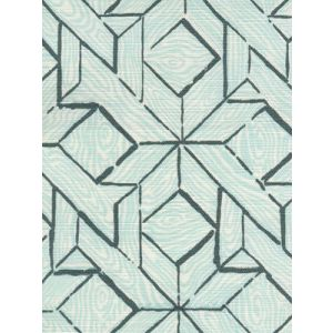 6280-03 PARQUETRY Blue Turquoise on White Quadrille Fabric