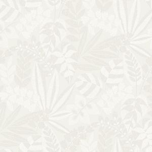 RY30600 Botanica Striped Leaves Gray Mist and Ivory Seabrook Wallpaper
