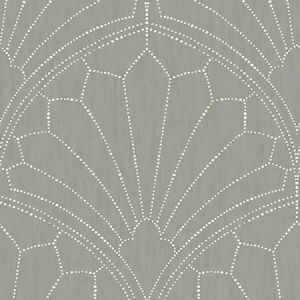 RY31515 Scallop Medallion Cinder Gray and Ivory Seabrook Wallpaper