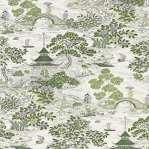 SC 0002 16624 SATOMI HAND BLOCK PRINT Lavender Citron Scalamandre Fabric