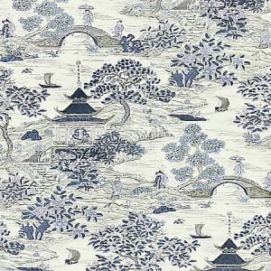 SC 0003 16624 SATOMI HAND BLOCK PRINT Evening Blue Scalamandre Fabric