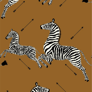 WP81388MV-003 ZEBRAS VINYL Safari Brown Scalamandre Wallpaper