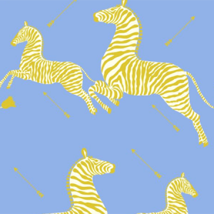 WP81388MV-007 ZEBRAS VINYL Periwinkle Scalamandre Wallpaper