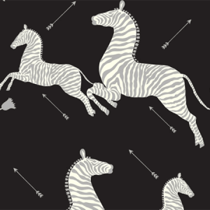 WP81388MV-009 ZEBRAS VINYL Black Silver Scalamandre Wallpaper