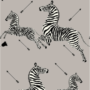WP81388MV-010 ZEBRAS VINYL Silver Scalamandre Wallpaper