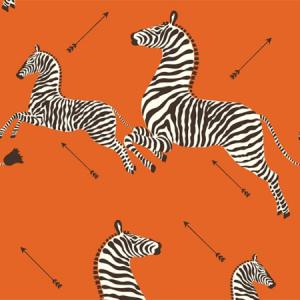 WP81388MV-012 ZEBRAS VINYL Orange Scalamandre Wallpaper