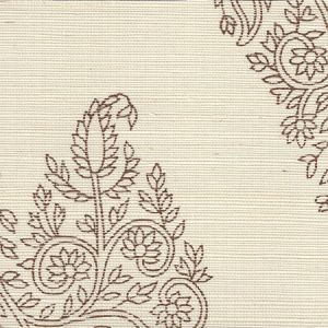 HC1480R-TOBA TAJ Tobacco On Beige Grasscloth Quadrille Wallpaper