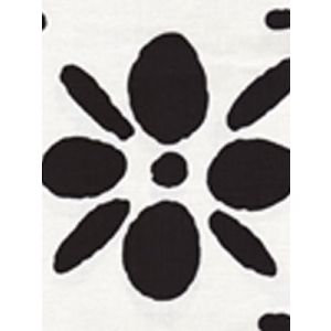 6380-10 WILDFLOWERS II Black on White Quadrille Fabric